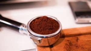 Coffee beans for espresso in portafilter