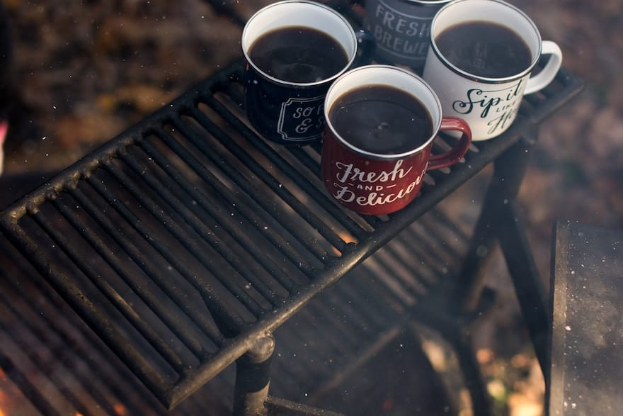 Coffee mugs on a grill