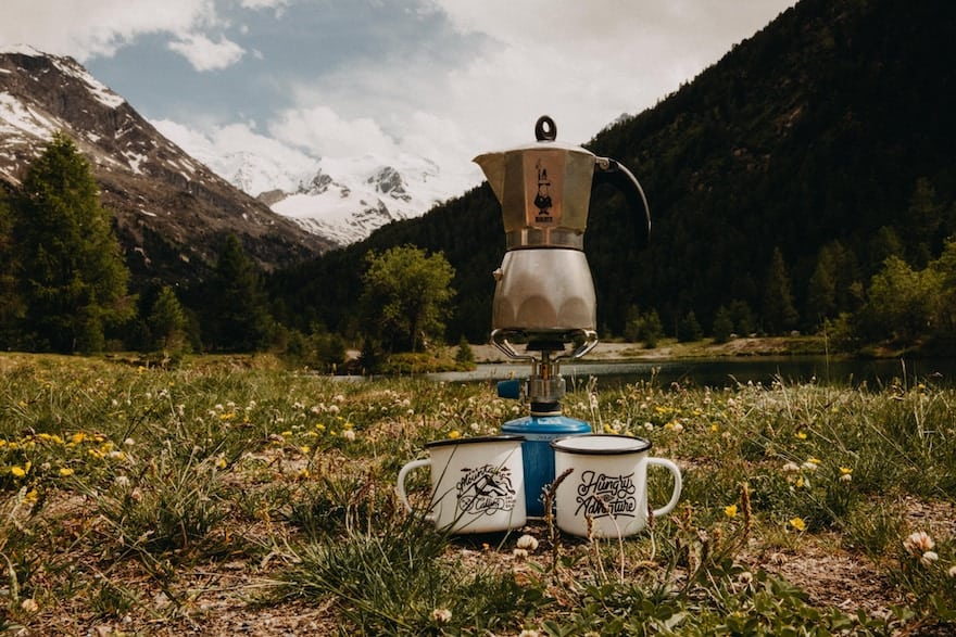 Moka pot in a meadow