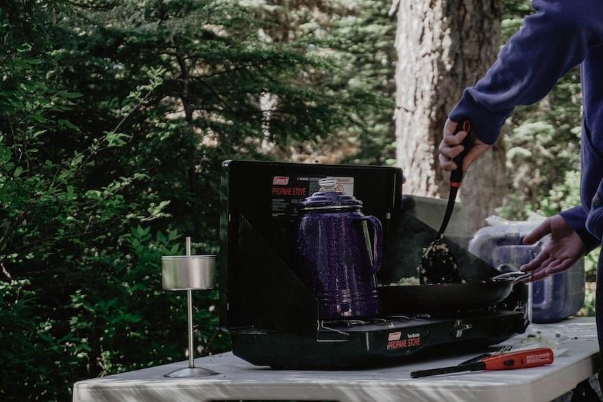 Percolator coffee on camping stove