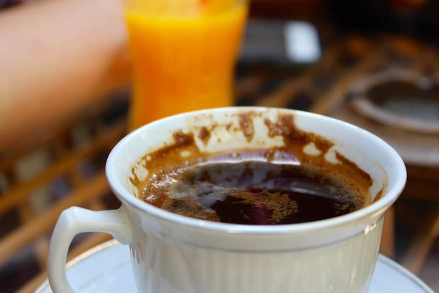 A dense, rich cup of Turkish coffee