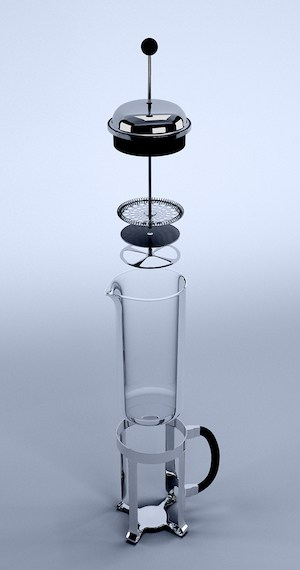 Exploded view of a typical French press