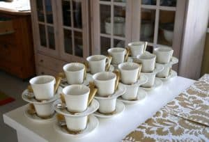 Stacks of coffee cups for a private function