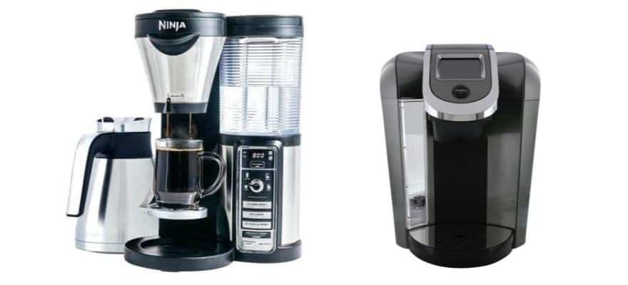 Ninja Coffee Bar CF097 on the left and Keurig 575 on the right