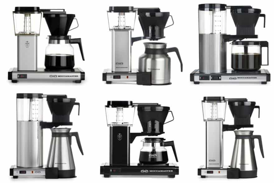 Six Moccamaster models that all look very similar