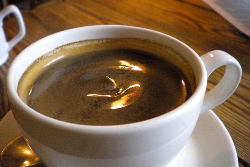 Closeup of a cafe Americano