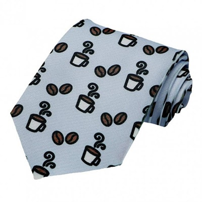 Necktie with little beans and coffee cups on it