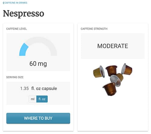 Screen shot from Caffeine Informer website showing that there are 60 mg of caffeine in a Nespresso capsule