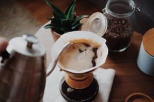 Making pour-over coffee in a Chemex brewer
