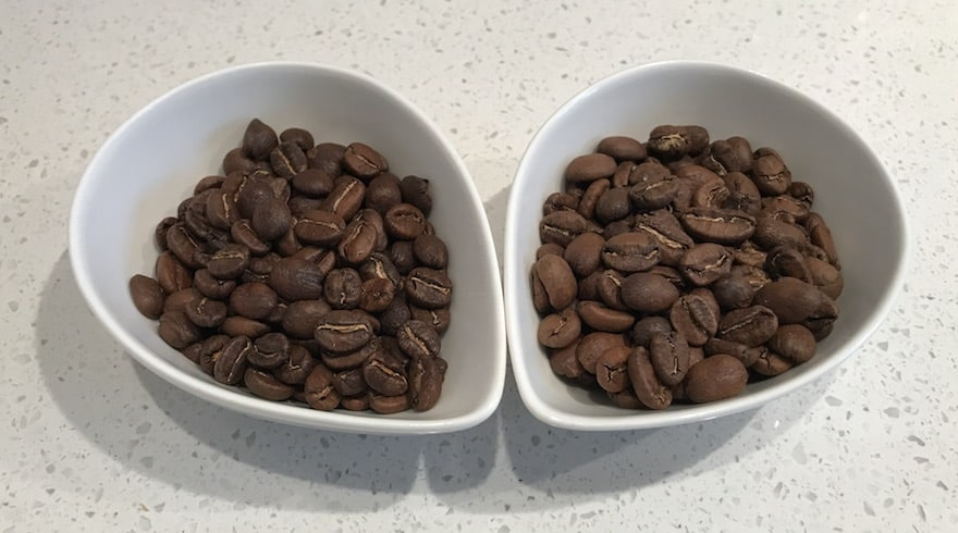 Two types of Phil & Sebastian coffee beans side by side in white cups