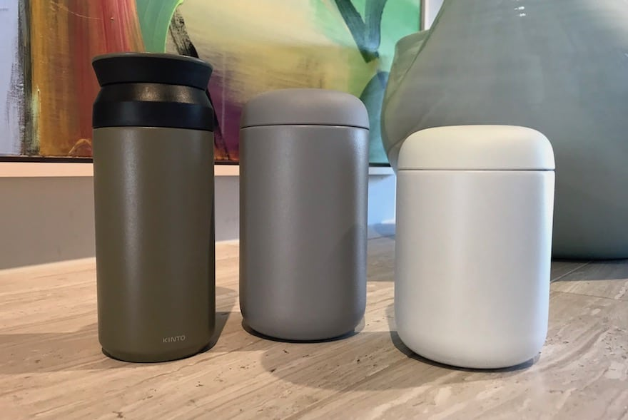A Kinto Travel Tumbler with two Carter Everywhere Mugs