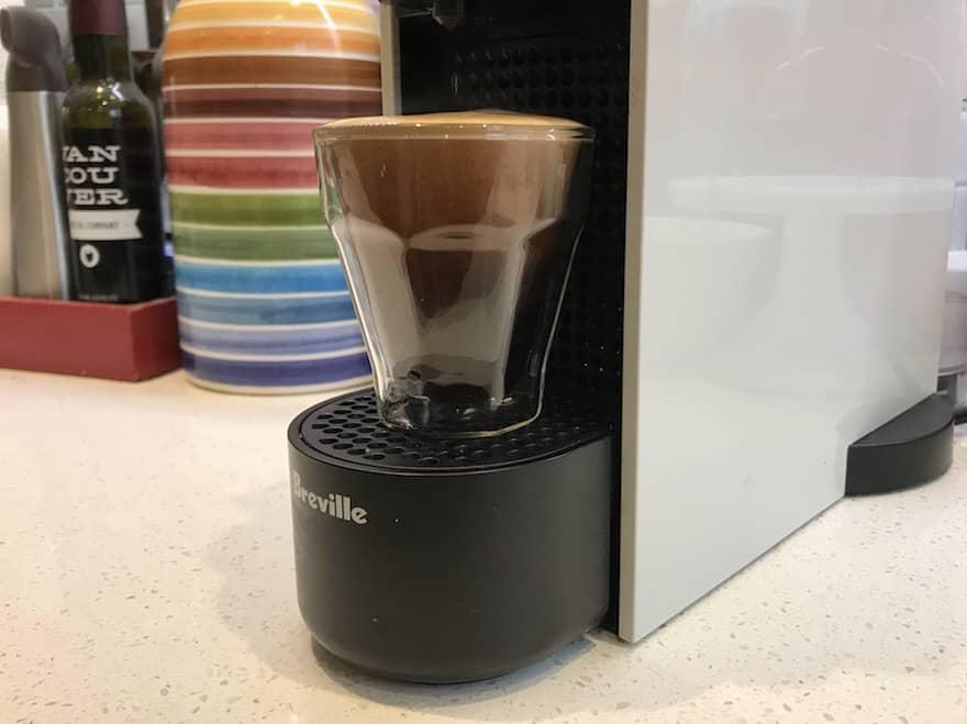 Long espresso brewing on a Nespresso Essenza Mini