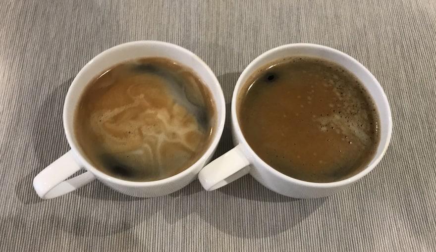 Long black coffee and a caffe Americano