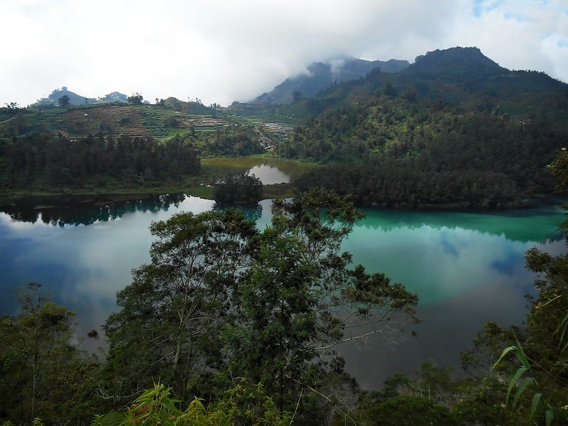 A colorful lake in Java, Indonesia.