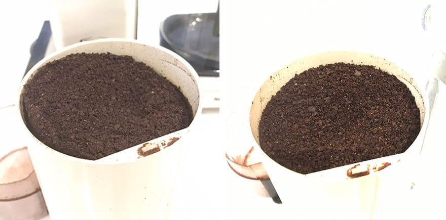We underexposed these images so you can better see the difference between medium grind for drip coffee (left) and coarse grind for French press.