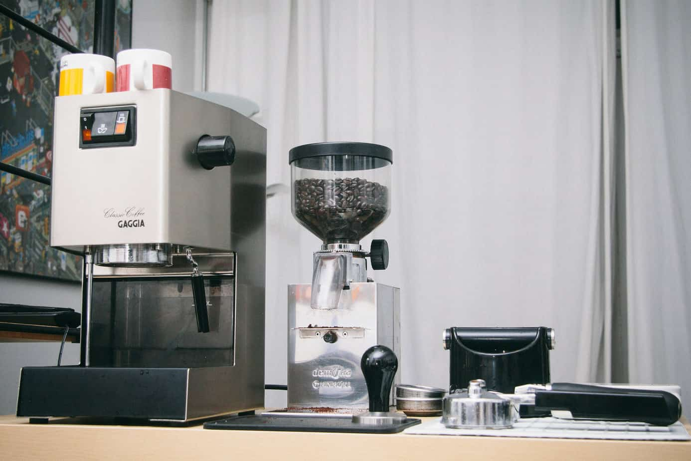 Gaggia Classic espresso machine with other espresso making equipment