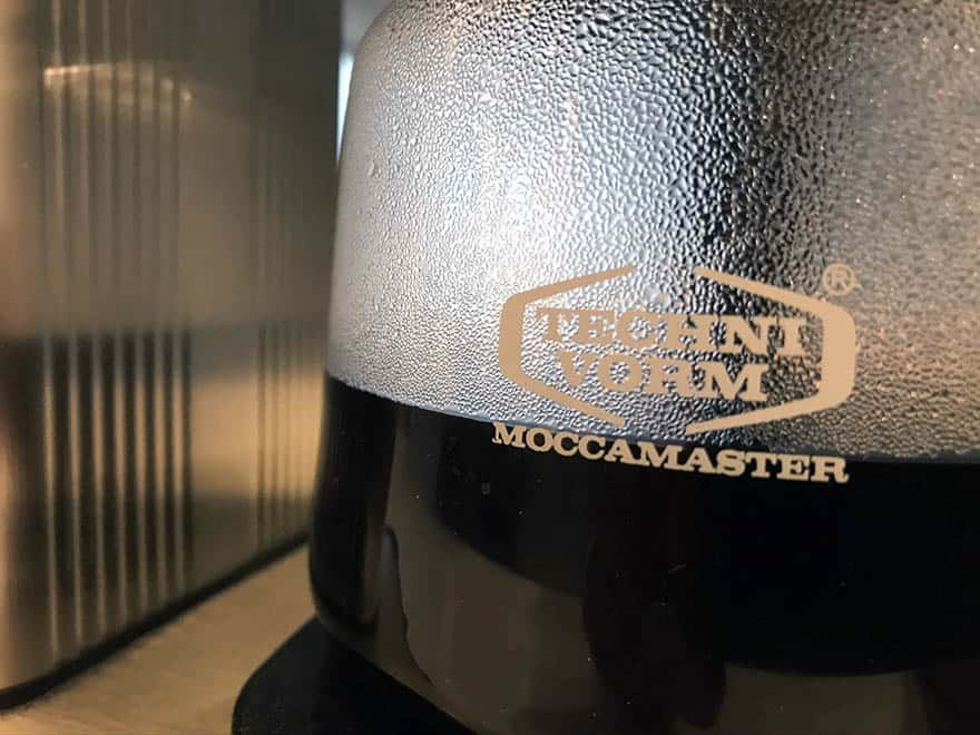 Closeup of coffee in a Technivorm Moccamaster drip coffee maker
