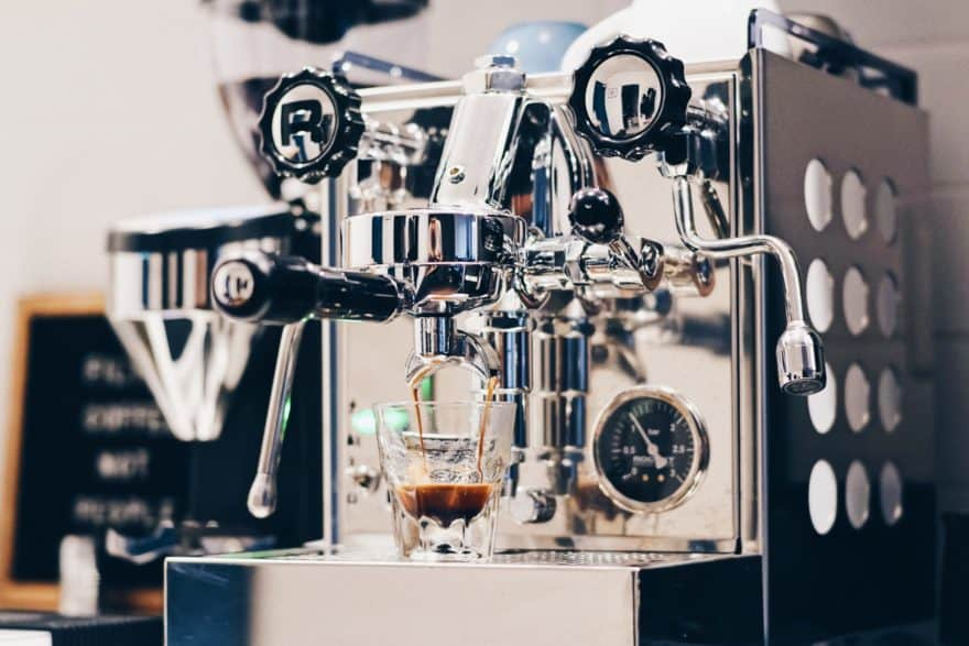 One of the many espresso machines we popularly see at coffee shops.