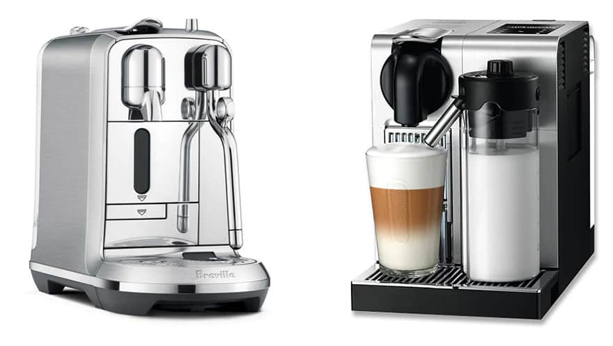 Nespresso Creatista Plus on the left and Lattissima Pro on the right