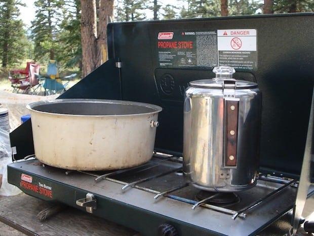 Coffee percolator on a camping stove