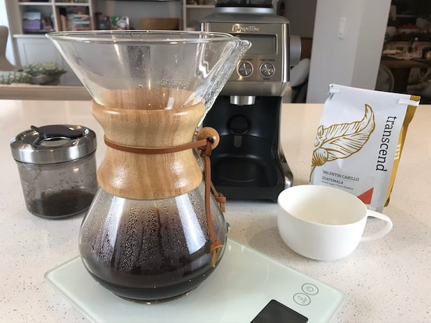 Kitchen counter set up for Chemex coffee brewing