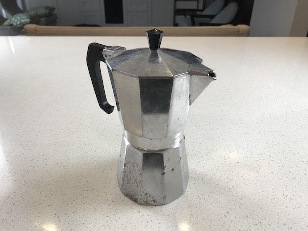 Moka pot on a kitchen counter