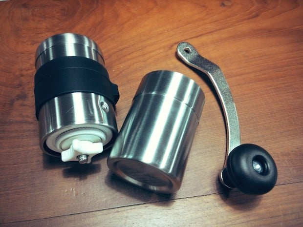 Porlex Mini coffee grinder disassembled in three pieces