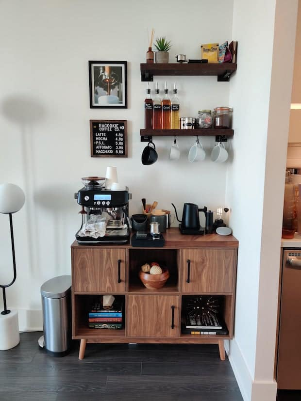 coffee station making use of overhead shelving against the wall