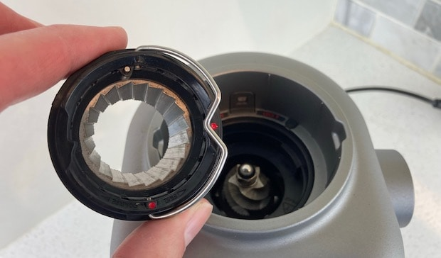 Closeup of the top burr on the Breville Smart Grinder Pro