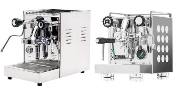 Split image showing the Quick Mill Anita Evo on the left and the Rocket Appartamento on the right